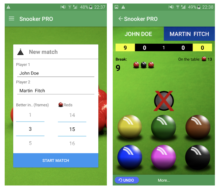 Snooker Score Counter app