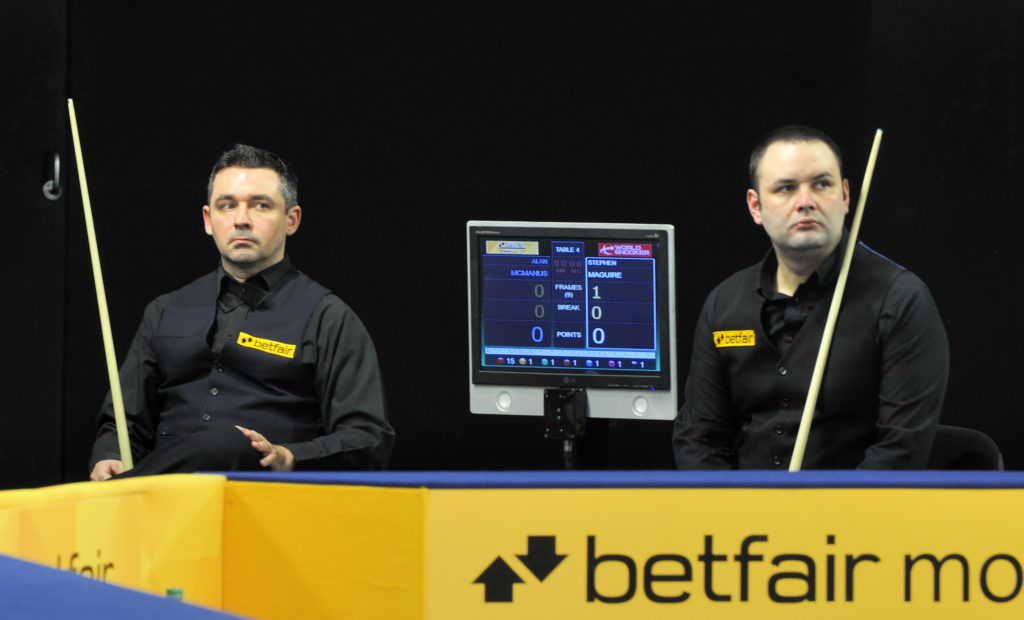 Scottish snooker players Alan McManus and Stephen Maguire